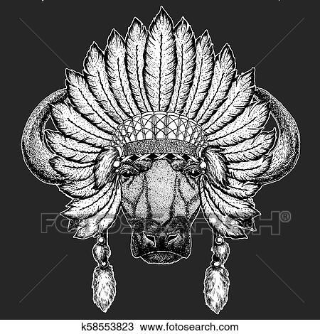 1e0830015426c Buffalo, bull, ox Traditional ethnic indian boho headdress Tribal shaman  hat Ceremonial element Clipart