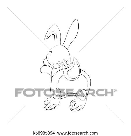 Bunny Rabbit Coloring Pages Clipart K58985894 Fotosearch