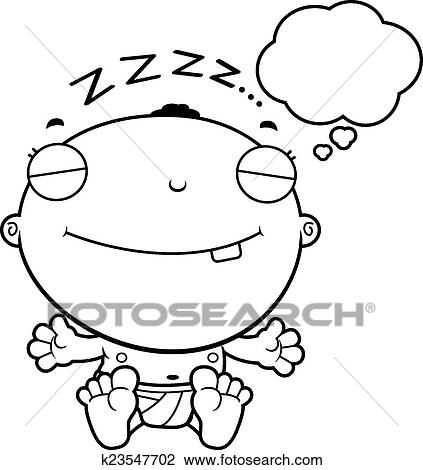 Clipart Of Cartoon Baby Boy Dreaming K23547702 Search Clip Art