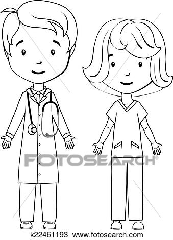 Clipart of Coloring book: Cartoon doctor and nurse k22461193 ...