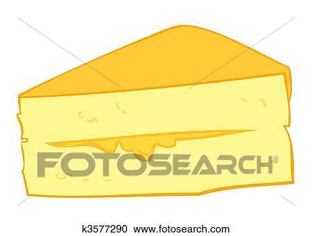 Custard cream cake slice. Clipart | k3577290 | Fotosearch