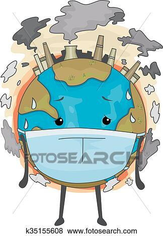 clip art of earth mascot mask air pollution k35155608 search rh fotosearch com air pollution pictures clip art air pollution clipart images