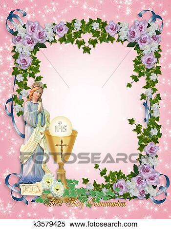 Stock illustration of first holy communion invitation k3579425 image and illustration composition for first holy communion invitation border or frame with gold chalice and angel gold text and copy space m4hsunfo