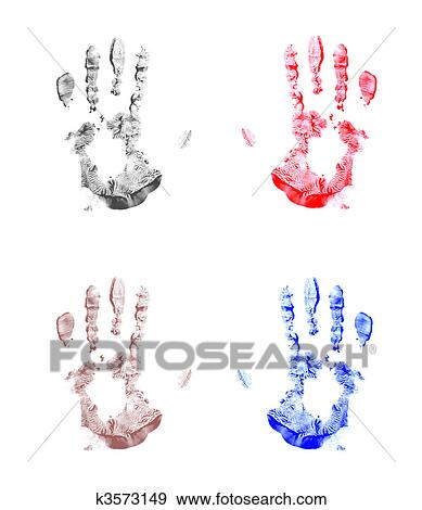 Four Handprint Background Stock Photo K3573149 Fotosearch