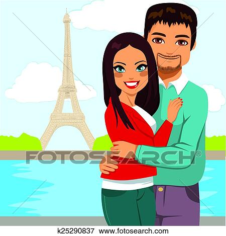 Young Indian Couple Enjoying Honeymoon In Paris With Eiffel Tower Background