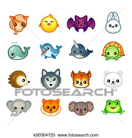 Image of: Cute Cartoon Clipart Kawaii Animals Set Ii Fotosearch Search Clip Art Illustration Murals Fotosearch Kawaii Animals Set Ii Clipart K50304725
