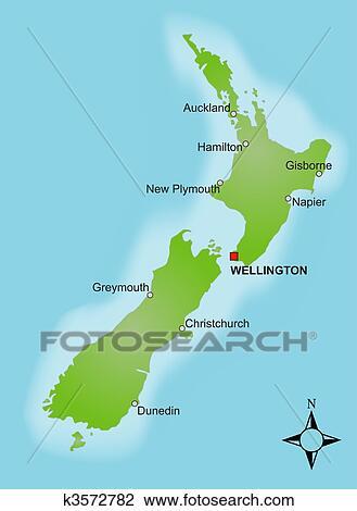 Landkarte Neuseeland Zeichnung K3572782 Fotosearch
