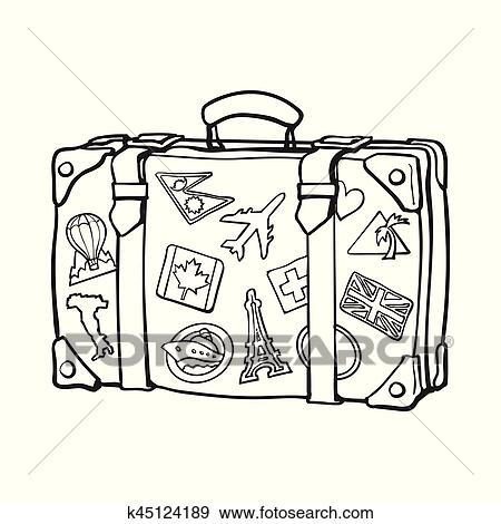 Clipart main dessin retro style voyage valise - Dessin de valise ...