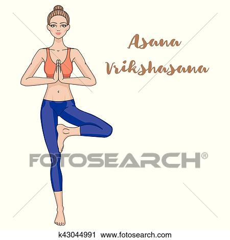 women silhouette yoga tree pose vrikshasana clipart