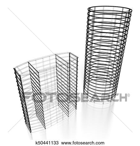 3d Office Buildings Wireframe Drawing K50441133 Fotosearch