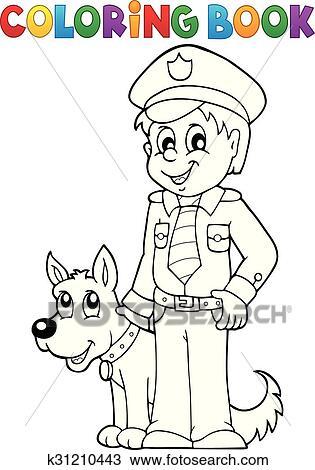 Clipart - ausmalbilder, polizist, mit, wachhund k31210443 - Suche ...