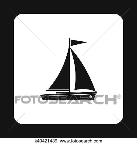 Banque D Illustrations Bateau A Voiles Icone Simple Style