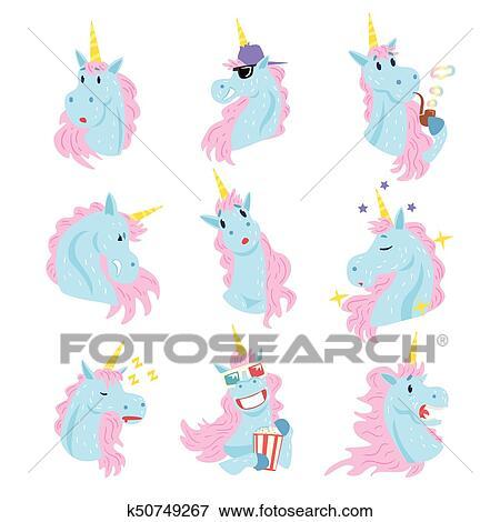 Divertente Unicorno Caratteri Con Differente Emozioni Set
