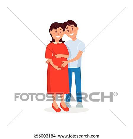 Feliz Marido Abracando Seu Gravida Wife Familia Par