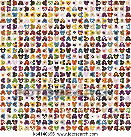 Geometric abstract seamless pattern of colored shapes Clip Art