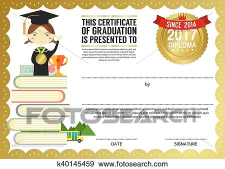 Clip Art Of Kids Diploma Certificate Template K40145459 Search