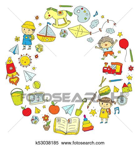 Clipart Kindergarten Nursery Preschool School Education With Children Doodle Pattern Kids Play And Study Boys