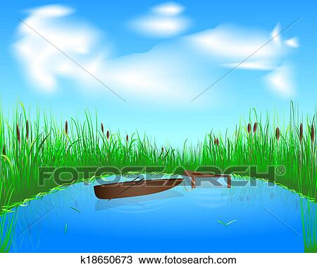 Disegno lago e barca k18650673 cerca clipart for Disegni di laghi