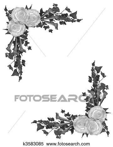 Stock Illustration - schwarz weiß, blumenrahmen k3583085 - Suche ...