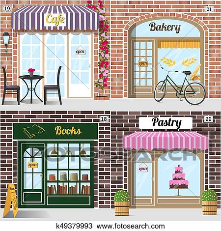 Clipart Of Set Of Different Facades Bakery Cafe Bookshop And
