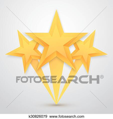 Clip Art Of Set Of Vector Gold Stars Icon Five Stars Icon Template