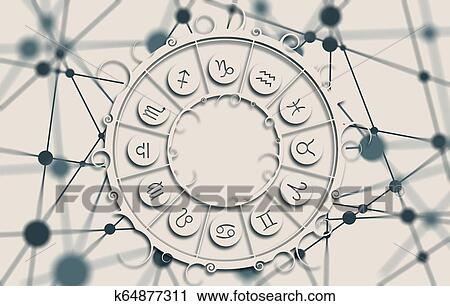 Astrology symbols in circle Clip Art