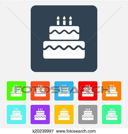 Clip Art Of Birthday Cake Sign Icon Burning Candles Symbol