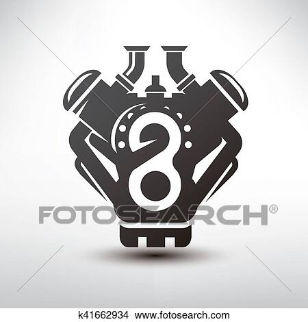 Drawings Of Car Engine Symbol Stylized Vector Silhouette Of
