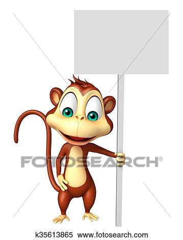 Carino scimmia cartone animato carattere con asse archivio