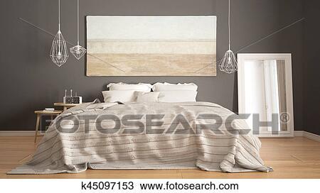 Classique, chambre à coucher, scandinave, moderne, style ...