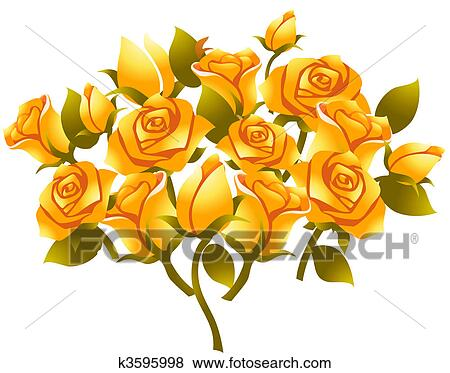 Stock Illustration of yellow rose flower k3595998 - Search EPS ...