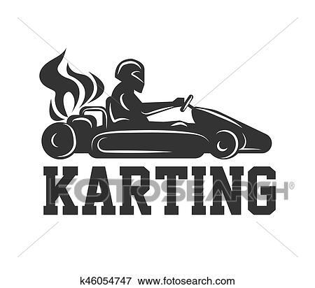 Clipart Karting Logo Courses Sport Voiture à Chauffeur Dans