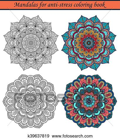 Clip Art - mandalas, para, anti-stress, libro colorear, 1 k39637819 ...