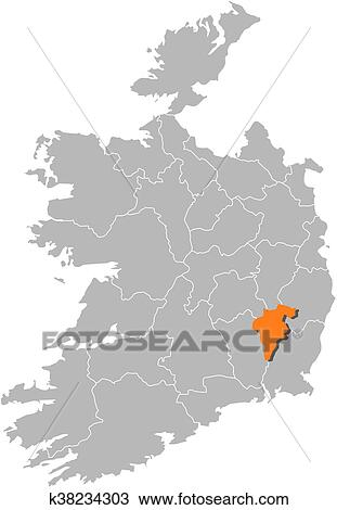Carlow Map Of Ireland.Map Ireland Carlow Clipart