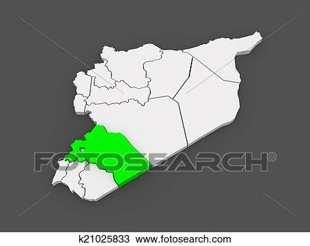 Map of Reef Damascus. Syria. Drawing | k21025833 | Fotosearch Damascus Map on