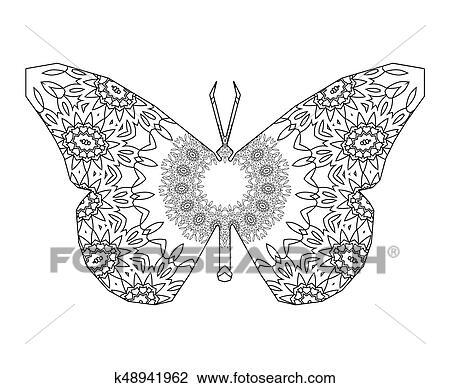 Papillon A Floral Mandala Circulaire Dessin K48941962 Fotosearch