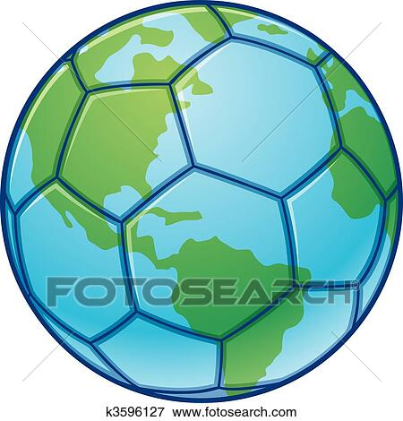 clip art of planet earth world cup soccer ball k3596127 search rh fotosearch com Cartoon Earth Globe Cartoon Earth Globe