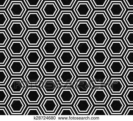 Zwart Wit Tegels.Zwart Wit Zeshoek Tegel Motieven Herhalen Achtergrond Stock Afbeelding
