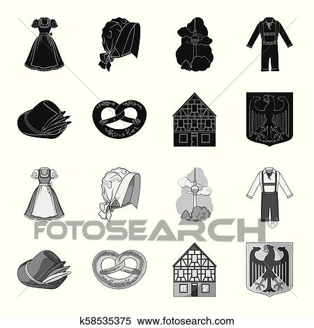 Country Germany black, monochrome icons in set collection ...