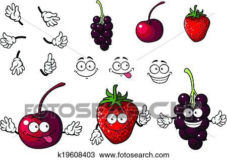 Clipart dessin anim cerise fraise et m res - Dessin cerise ...