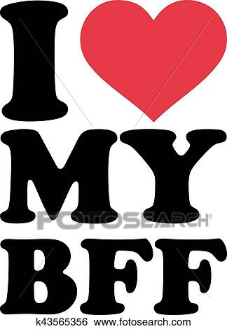 clip art of i love my bff best friend forever k43565356 search