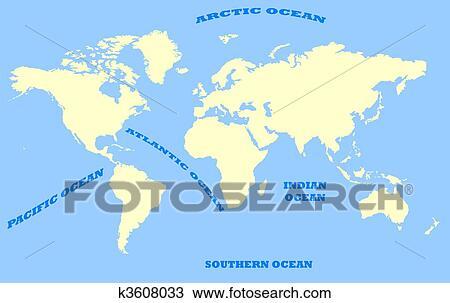 Zeichnung Karte Welt Und Ozeane K3608033 Suche Clipart