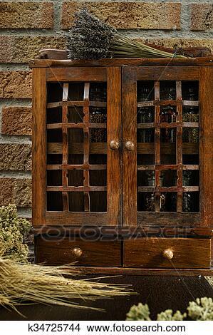 Vintage Wooden Spice Rack Or Storage Cabinet Picture