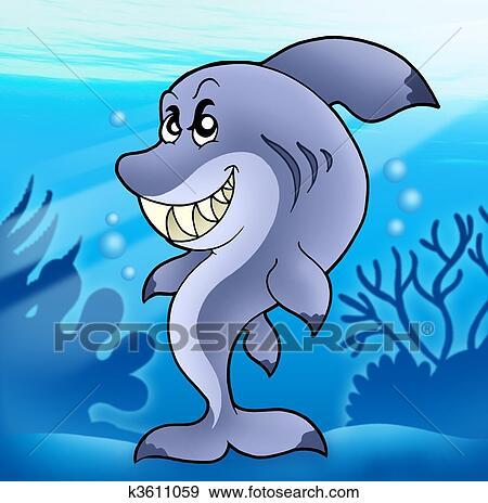 かわいい 面白い サメ 中に 海 イラスト K3611059 Fotosearch