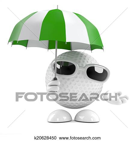 Clipart - 3d, balle golf, sous, parapluie. Fotosearch