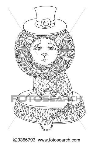 Clipart - arte de línea, ilustración, de, circo, tema, -, león, en ...