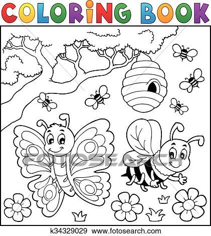 Clip Art Ausmalbilder Mit Schmetterling Und Biene K34329029