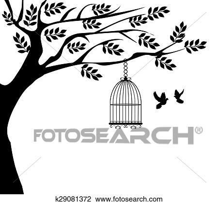 Clipart cage oiseau k29081372 recherchez des cliparts des illustrations des dessins et des - Dessin oiseau en cage ...