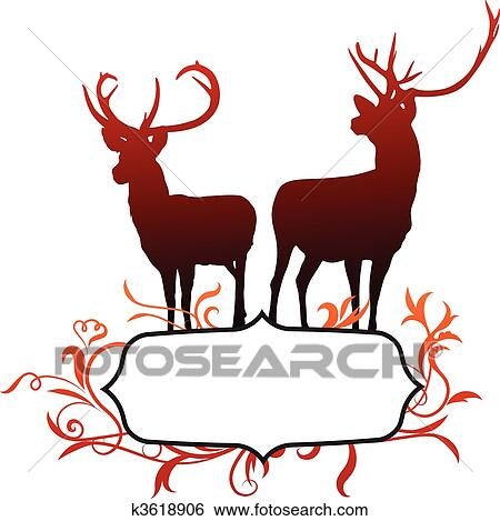 Clip Art of Deer with abstract frame background k3618906 - Search ...