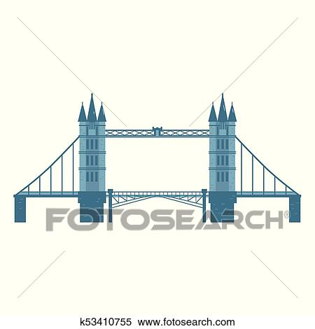 Flat Style Tower Bridge London England Symbol Clipart